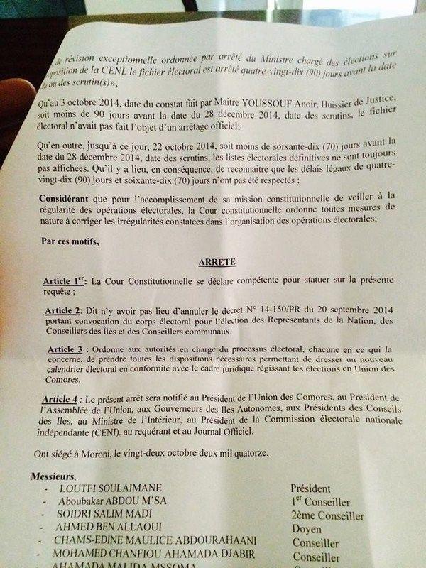 Comores - Elections: La Cour ordonne d'autres dates !